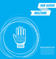 gloves icon on a blue background with abstract vector image
