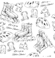 hand drawn seamless pattern Roller Skates with vector image