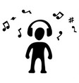 headphones music silhouette symbol vector image vector image