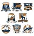 Hunting sport club icons emblems set vector image vector image