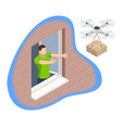 isometric drone delivery delivering big brown post vector image vector image