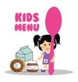kids menu girl holding spoon food vector image vector image