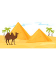 landscape of desert with egyptian pyramids palm vector image vector image