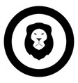 lion head icon black color in circle or round vector image vector image