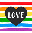 love gay pride emblem with hand written lettering vector image vector image