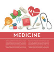 medicine pills and medical tools treatment and vector image vector image