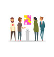 men looking at abstract painting hanging on the vector image vector image