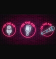 neon on the air signs set with microphones vector image vector image