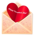 ornate envelope with red paper heart vector image vector image