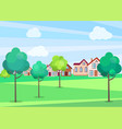 park trees in summer with buildings on background vector image vector image