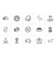 pets hand drawn outline doodle icon set vector image vector image