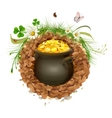 Pot of gold in ground Hidden treasure vector image