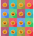 pumpkins for halloween flat icons 18 vector image vector image