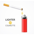 Red Lighter and Burning Cigarette Card vector image vector image