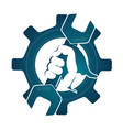 repair symbol wrench in his hand vector image