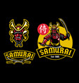 samurai ronin mascot hold pair of katana vector image