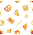 seamless pattern with appetizing breads baked vector image
