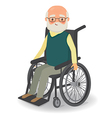 Senior man in wheelchair on a white background vector image vector image