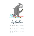 september 2019 year calendar page vector image vector image