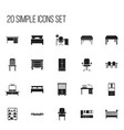 set of 20 editable furniture icons includes vector image