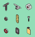 skateboard spare parts icons vector image vector image