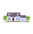suburban cottage house with garage icon on white vector image vector image