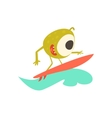 Surfer Monster On The Beach vector image vector image