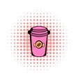 Takeaway coffee cup comics icon vector image