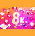 thank you followers peoples 8k online social vector image vector image