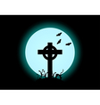 The cross on the background of the full moon hallo vector image