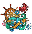 the ships anchor steering wheel and crab tattoo vector image vector image