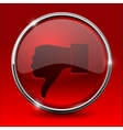 Thumb down icon Red round shiny button vector image