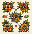 traditional decorative tattoo flowers vector image