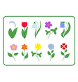 Tree cartoon flower icons set vector image vector image
