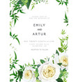 trendy greenery yellow wedding floral invite card vector image vector image