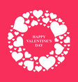 valentines day card with round frame hearts vector image
