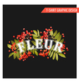 Vintage Autumn Floral Graphic Design - for T-shirt vector image vector image