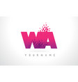 Wa w a letter logo with pink purple color and vector image