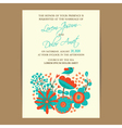 Wedding invitation card with bird and flowers vector image vector image