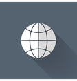 White and grey globe icon over blue vector image