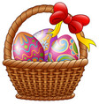 wicker basket with decorated easter eggs and red b vector image vector image