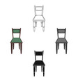 wooden chair icon in cartoonblack style isolated vector image
