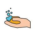bathroom hand holding soap bubbles hygiene vector image