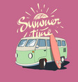 old bus with surfboard vector image