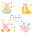 2019 calendar with funny pig monthly page cover vector image