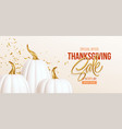 3d realistic white golden pumpkin with sale text vector image vector image