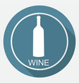 a bottle of wine and a glass icon on white circle vector image
