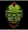 an angry orc on the dark background vector image vector image