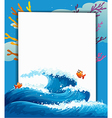 An empty template at the sea with fishes vector image vector image