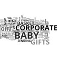 baby basket corporate gift text word cloud concept vector image vector image